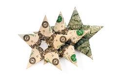 Drei Dollar Sterne auf weißem Hintergrund stockfotos
