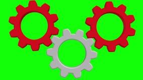 Drei drehende Gänge auf Grün