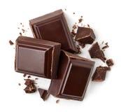Drei dunkle Schokoladenstücke lizenzfreies stockfoto