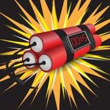 Drei Dynamite mit dem Borduhrexplodieren Lizenzfreie Stockfotografie