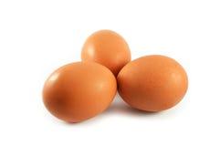 Drei Eier auf Weiß Stockfoto