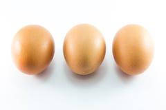 Drei Eier auf weißem Hintergrund Stockfotos