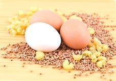 Drei Eier, Buchweizen, Teigwaren und Spaghettis Stockfoto