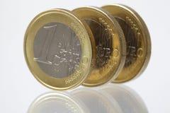 Drei Ein-Euro-münzen Stockfotografie