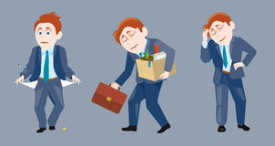 Drei eines Geschäftsmannes in der traurigen Situation Lizenzfreie Stockfotos