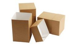 Drei einfache Kartonkästen Stockbild