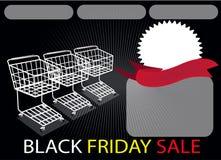 Drei Einkaufswagen und Fahne auf Black Friday-Ba Stockbilder