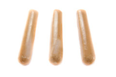 Drei einzelne Würste stockfoto