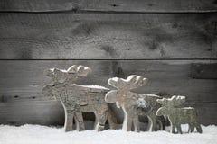 Drei Elche auf einem grauen hölzernen Hintergrund Lizenzfreie Stockfotos