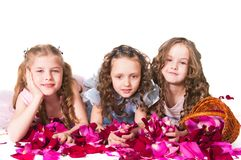 Drei elegante Mädchen Stockfoto