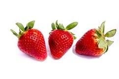 Drei Erdbeere-` s, das in der Sonne sitzt Lizenzfreie Stockfotografie