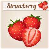 Drei Erdbeeren Ausführliche Vektor-Ikone Lizenzfreies Stockbild