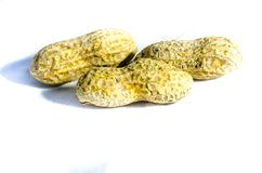 Drei Erdnüsse herein dort auf Weiß Stockfoto