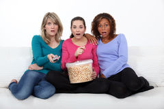 Drei erschrockene Frauen Lizenzfreie Stockfotografie