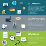 Drei Fahnen inflat Art mit Ikonen E-Commerce oder on-line-Einkaufen, Kommunikation, Bericht Stockfoto