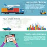 Drei Fahnen logistisch und Transport stock abbildung