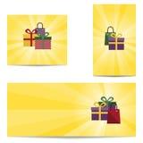 Drei Fahnen mit Geschenken Stockfotos