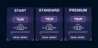 Drei Fahnen Pricelist, Pläne und Webdesignkästen Fahnen bewirtend Stockbild