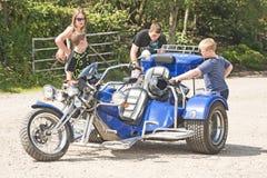 Drei fahrbares Fahrrad an der Sammlung in Inverness. Lizenzfreie Stockfotografie