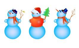 Drei Farben-Schneemänner lizenzfreie abbildung