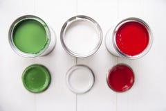 Drei Farbendosen Stockbild