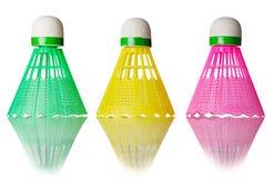 Drei Farbfederbälle Lizenzfreie Stockbilder