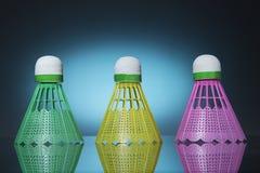 Drei Farbfederbälle Lizenzfreies Stockbild