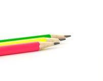 Drei farbige Bleistifte Stockfoto