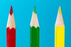 Drei farbige Bleistifte Lizenzfreie Stockfotografie