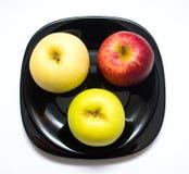 Drei farbiger Apfel Lizenzfreie Stockbilder