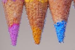 Drei farbiger Bleistift im twater Lizenzfreies Stockfoto