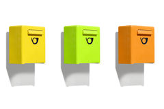 Drei farbiger Briefkasten Stockbild