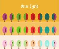Drei Farbvarianten des Jahr-Zyklus Stockbild
