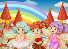 Drei Feen und Regenbogenhintergrund stock abbildung
