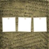 Drei Felder für Fotos auf dem musikalischen Hintergrund Stockbild