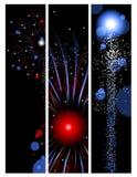 Drei Feuerwerkfahnen Stockfotos