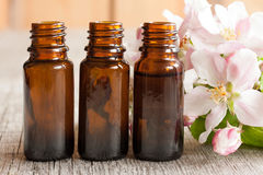 Drei Flaschen ätherisches Öl mit Apfelblüten lizenzfreies stockfoto