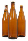 Drei Flaschen Bier des kalten Bieres Stockfoto