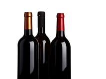 Drei Flaschen Rotwein stockbild