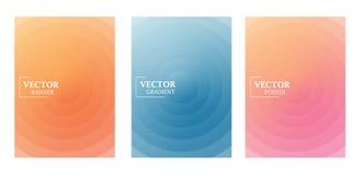 Drei Fliegerschablonen in den empfindlichen Pastellfarben mit Steigungseffekt Muster mit Kreisen lizenzfreie abbildung