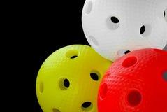 Drei floorball Kugeln getrennt Lizenzfreies Stockbild