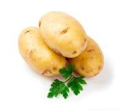 Drei Frühkartoffeln mit Petersilieblatt auf Weiß Stockbilder