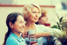 Drei Frauen, die Tee am Balkon trinken Stockbild