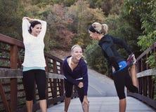 Drei Frauen, die zu einem Lack-Läufer fertig werden Stockfotografie