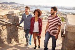 Drei Freunde mit Skateboard auf Schritten lizenzfreie stockbilder