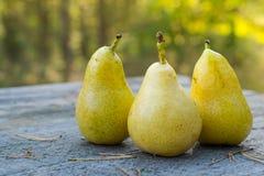 Drei frisch und saftige Birnen auf dem Holztisch, DOF Lizenzfreies Stockfoto
