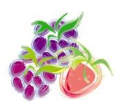 Drei frische Beeren: Brombeere, Erdbeere und Himbeere Lizenzfreie Stockfotografie