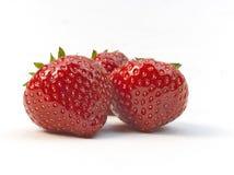 Drei frische reife rote Erdbeeren Lizenzfreies Stockfoto