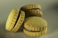 Drei gefüllte Kekse Stockfoto
