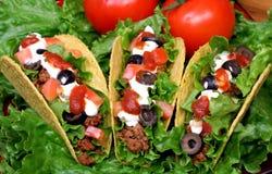 Drei gefüllte Tacos Stockfotos